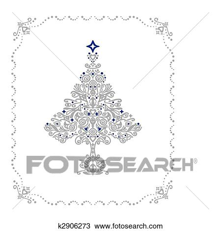 Clipart of Detailed silver Christmas tree ornament in a frame ...