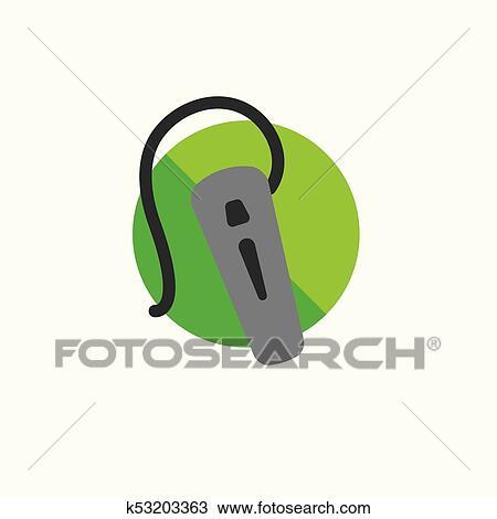 Clipart - hörgerät, symbol, mit, automatischer zeilenumbruch, ohr ...