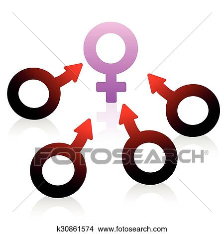Clipart Of Lust Desire Male Female Symbol K30861574 Search Clip