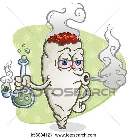 Marijuana Joint Cartoon Character Smoking a Bong Clip Art ...