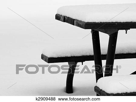 Pictures Of Picnic Table In Winter K Search Stock Photos - Picnic table print