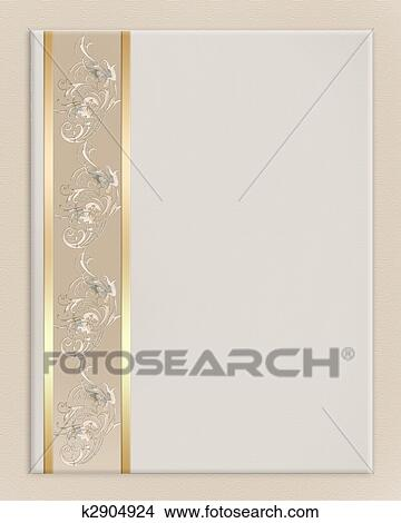 Drawings of wedding invitation border elegant k2904924 search clip image and illustration composition background design for wedding anniversary engagement party invitation or greeting card border on off white canvas stopboris Image collections