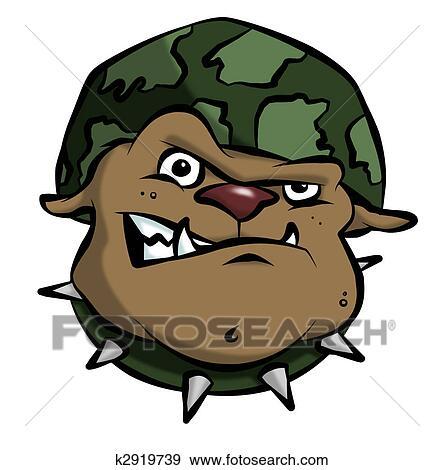 漫画 軍隊 ブルドッグ イラスト K2919739 Fotosearch