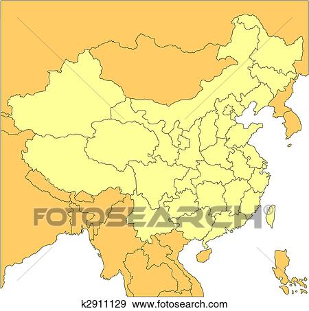 Clip Art of China with Administrative Districts and Surrounding ...