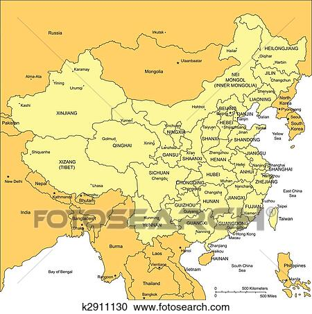 Clipart of China with Administrative Districts and Surrounding ...