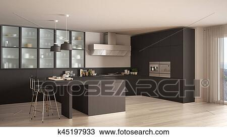 Disegno - classico, minimo, grigio, cucina, con, pavimento parchè ...