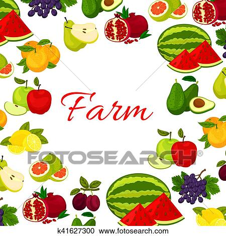 Clipart of Fruits poster. Fresh farm fruit icons in round frame ...