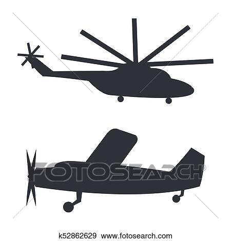 Helicopter And Plane Black Silhouettes On White Clip Art K52862629
