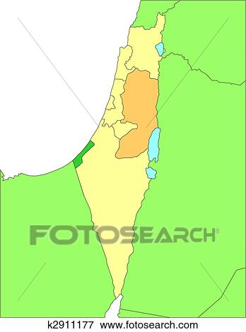 Israel with Administrative Districts and Surrounding Countries Clip Art