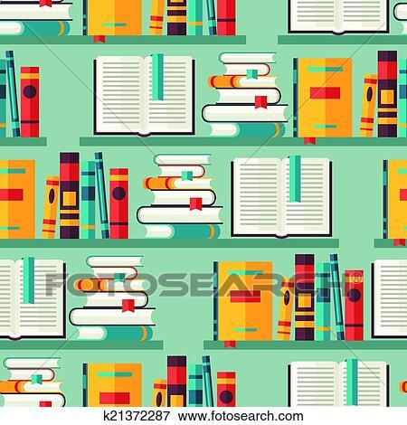 Clip art seamless modello con libri su scaffali in for Mobilia dizionario