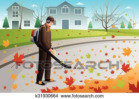 clipart of man clean up leaves during fall season using a blower rh fotosearch com fall season leaves clipart fall season clipart black and white