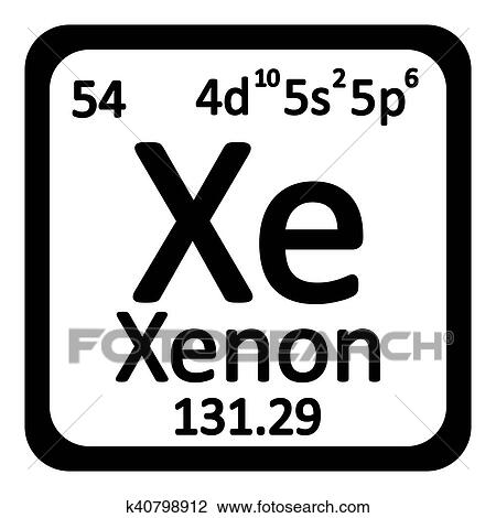 Periodic Table Element Xenon Icon On White Background. Vector Illustration.