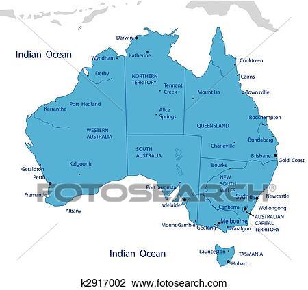 Map Of Australia 1700.Political Map Of Australia Clipart K2917002 Fotosearch