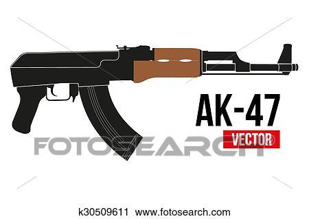 clipart of russian rifle ak47 k30509611 search clip art rh fotosearch com AK-47 Cartoon AK-47 Silhouette