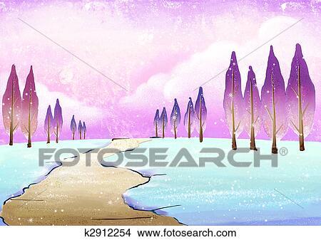 Tekeningen Winter Landschap K2912254 Zoek Clipart Illustraties