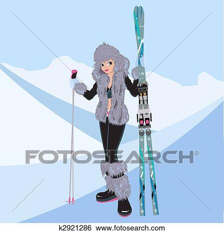 Clipart beau girl ski alpin k2921286 recherchez - Ski alpin dessin ...