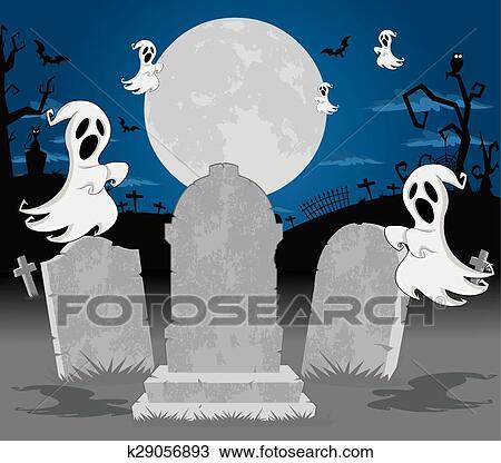 Halloween cimitero con fantasma clipart k fotosearch