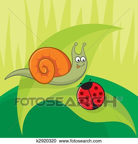 Lumaca con coccinella vettore clipart k fotosearch