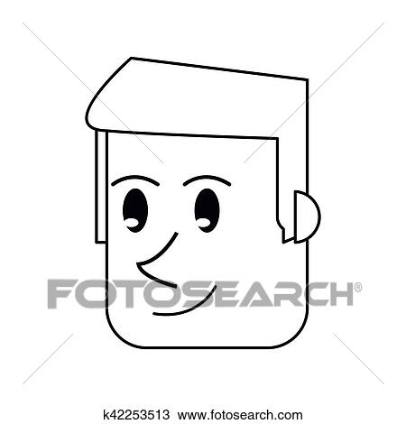 Pictograma Rosto Homem Frente Sorrindo Desenho Clipart
