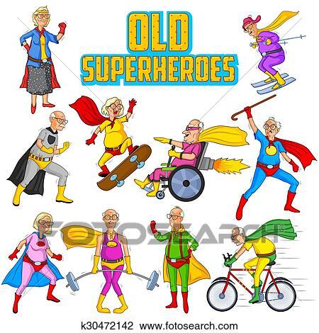Retro Style Comics Superhero Old Man And Woman Clipart K30472142