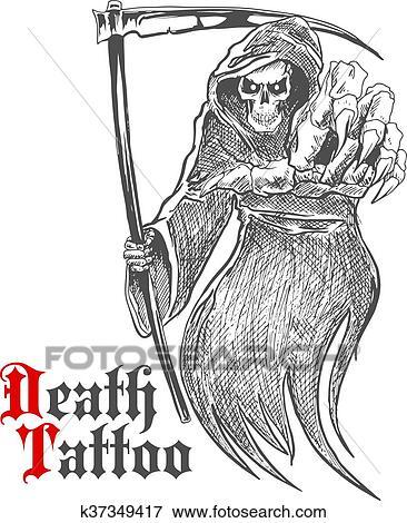 Schizzo, scheletro, cranio, mostro, cappello, halloween. Testa, cima,  umano, o, cranio, decorazione, tatuaggio, male,