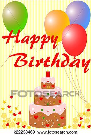 誕生日おめでとう カード で A バースデーケーキ イラスト