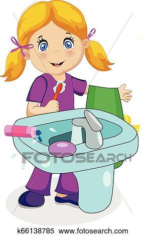 baby girl cartoon characters blonde baby girl character brushing teeth in bath clipart