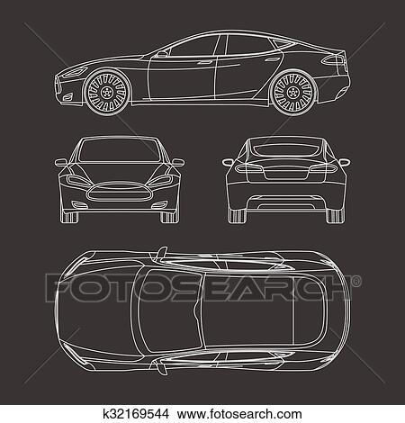 Clipart of car draw four all view top side back insurance rent car line draw insurance rent damage condition report form blueprint malvernweather Images