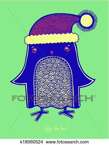 christmas bird illustration of doodle penguin in a hat merry christmas happy new year