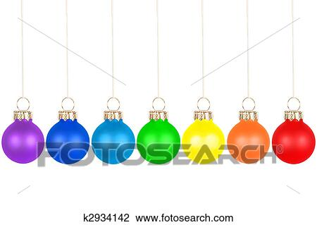 Christmas Tree Balls.Christmas Tree Balls Rainbow Colors Stock Image