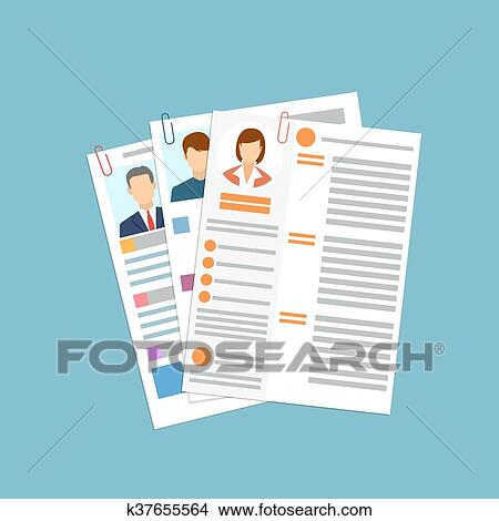 Clipart Of Cv Concept Resume With Photo Documents K37655564