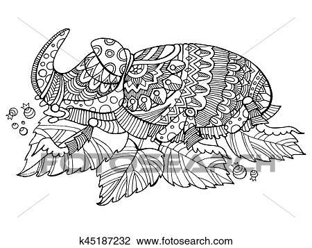 Clipart - escarabajo rinoceronte, insecto, libro colorear, vector ...