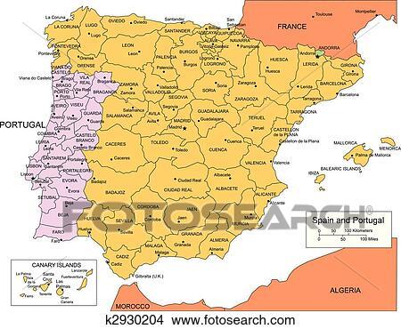 Espanha Portugal Com Administrativo Distritos E Cercar