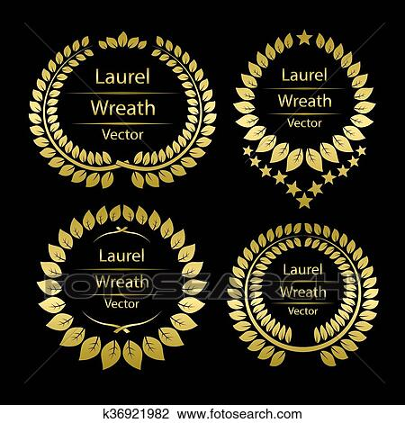 Clipart of Gold laurel wreath template frame k36921982 - Search Clip ...
