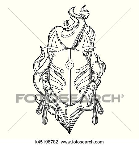 Clipart Grafik Dämon Fuchs Maske K45196782 Suche Clip Art