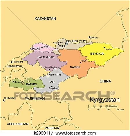 Kyrgystan, Administrative Districts, Capitals and Surrounding Countries  Clip Art