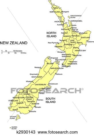 New Zealand District Map.New Zealand With Administrative Districts Clipart K2930143