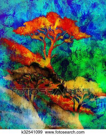 Colecci n de ilustraciones pintura ocaso mar y rbol for Papel pintado paisajes