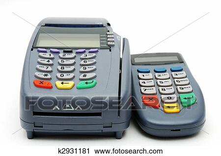 Stock photography of pos terminal with pin pad k2931181 search modern pos terminal with magnetic stripe and chip reader publicscrutiny Gallery