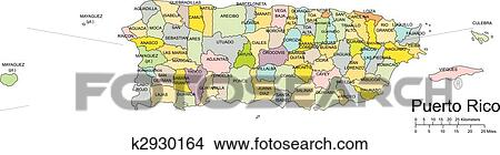 Puerto Rico, Island, Administrative Districts, Capitals Clipart