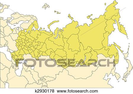 Clip Art Of Russia With Administrative Districts And Surrounding