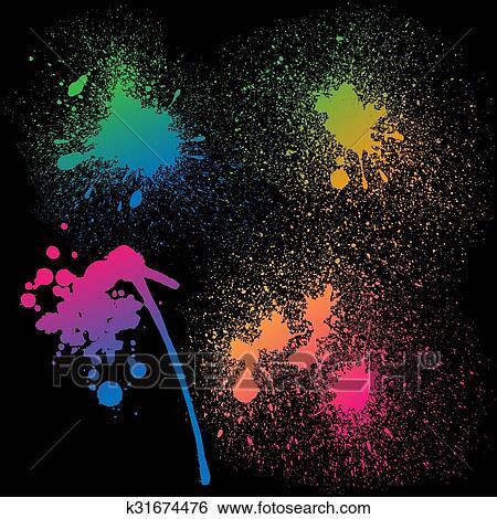 Set Di 4 Isolato Colorito Pendenza Arcobaleno Grunge Vernice