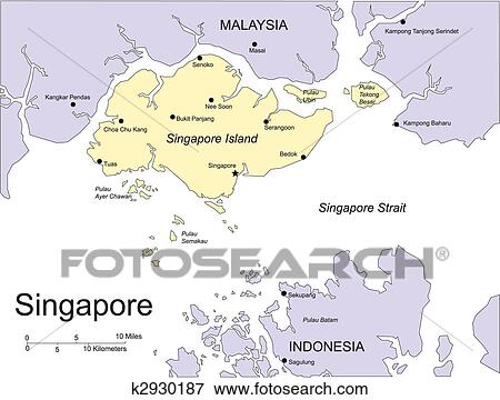 Singapore, Editable Vector Map Includes Surrounding Countries, In Color  With Cities, Capitals, All Objects Editable. Great For Illustrations, Web  Graphics ...