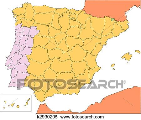 Clipart of Spain and Portugal with Administrative Districts and ...