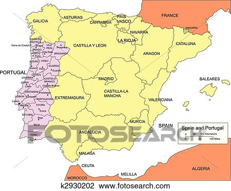Clipart of Spain and Portugal with Regions and Surrounding Countries ...