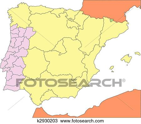 Map Of Spain With Regions.Spain And Portugal With Regions And Surrounding Countries Clipart