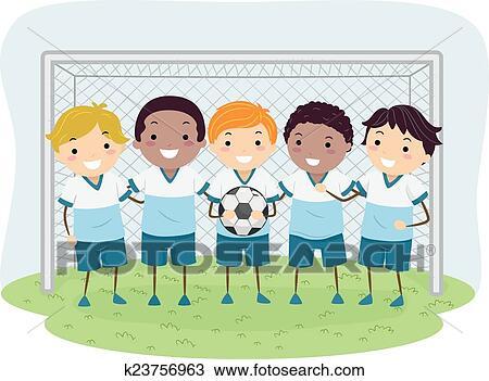 Stickman Kinder Fussball Knaben Clipart K23756963
