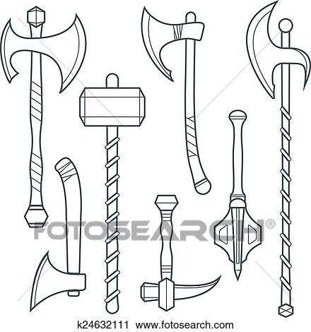 Vector dark gray outline cold medieval weapons set with ax axe hammer mace  halberd battle poleax Clipart