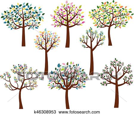 Vector Set Of Cartoon Trees With Colorful Leaves Clipart K46308953 Fotosearch When you make stylization, you should get from real life and. vector set of cartoon trees with