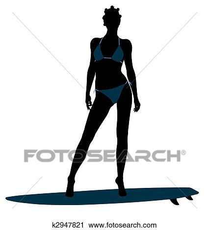 アフリカ系アメリカ人の女性 サーファー シルエット イラスト